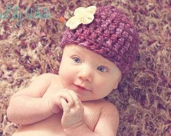 Newborn Photo Prop Hat- Burgandy/Plum