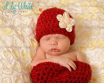Red Cocoon and Hat With Detachable Flower  RTS