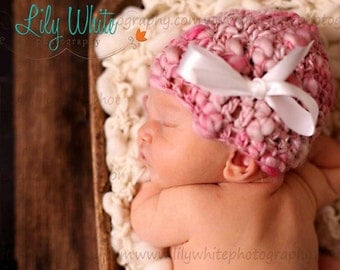 LIMITED Edition Newborn Precious in Pink  Photo Prop Hat  --- HandSpun Thick and Thin ---     READY To SHIP