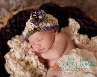 LIMITED Edition Newborn Magical Bloom Photo Prop Hat  --- HandSpun Thick and Thin ---    READY to SHIP