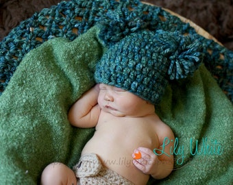 Thick and Textured Photography Prop Blanket - Teal   ---READY TO SHIP---