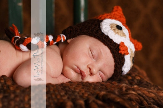 Burnt Orange and Chocolate Ear Flap Owl Hat and Diaper Cover Set