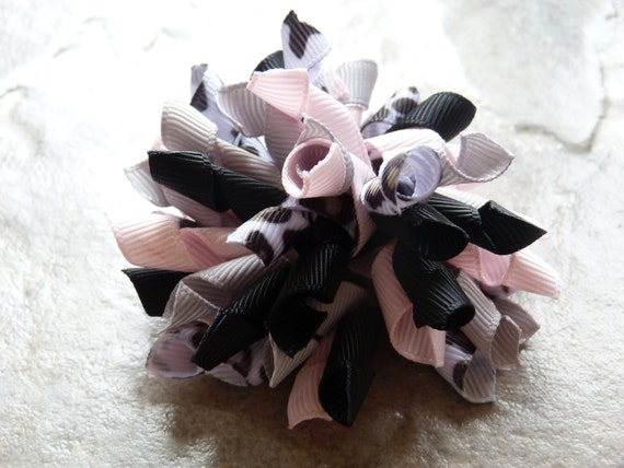 Pink Leopard Korker Alligator Clip Hair Bow - READY TO SHIP