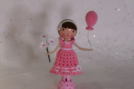 Bella and Her Balloon - Clothespin Doll