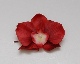 Red Orchid hair flower, bobby pin, bridesmaid, bridal, any occasion