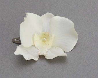 Ivory Orchid flower hair clip, bridal, bridesmaid hair clips