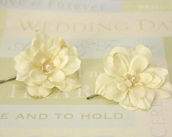 Set of 2 ivory delphinium flower hair pins, bridal, bridesmaids hair piece