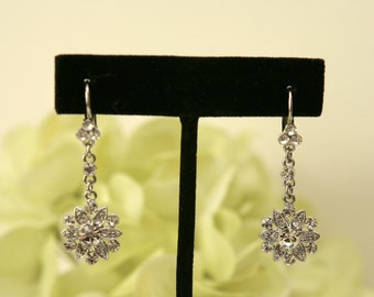 Clear crystal flower, rhinestone dangle earrings, bridal, bridesmaids jewelry