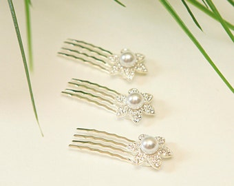 wedding hair accessories - 3 rhinestones combs, flower and pearl hair combs, bridal hair pieces