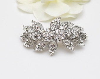 Hair barrette, clear crystal and rhinestone hairpiece, flower, leave design, bridal