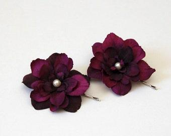 Eggplant deep purple flower hair pins, bridal, bridesmaids hair piece - set of 2