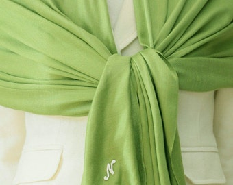 Apple green Pashmina shawl with initial monogram, personalized scarf, bridal, bridesmaids wrap