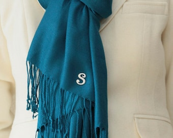 Initial personalized gift, teal blue pashmina shawl, scarf, wrap