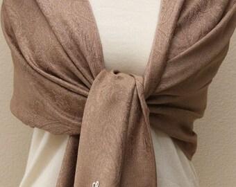Wedding gifts medium brown paisley pashmina bridal shawl, bridesmaid scarf, bridesmaid wrap, personalized gifts
