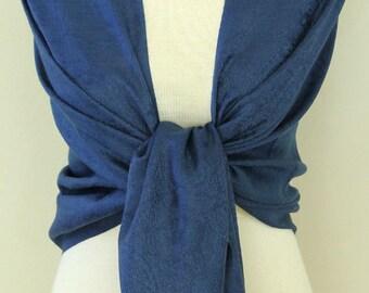 Navy blue paisley pashmina bridal bridesmaid shawl, scarf, wrap, gifts, monogrammed