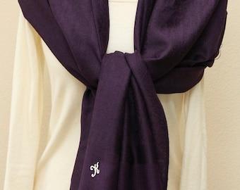 Soft eggplant dark purple paisley pashmina shawl, scarf, wrap, bridal bridesmaids gifts with monogram