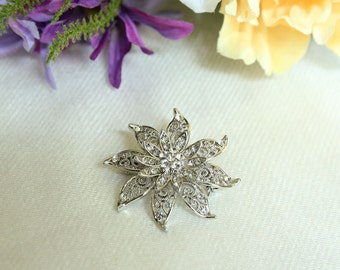 Classic rhinestone flower brooch, bridal bridesmaid brooch