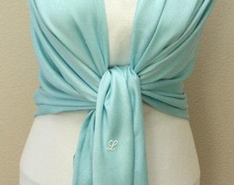 Clearance slightly defect light blue pashmina bridal bridesmaid shawl, scarf, wrap with monogram