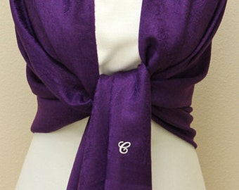 Deep purple paisley shawl, scarf, wrap, bridal bridesmaid gifts