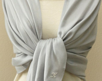Clearance slightly defect silver shawl pashmina with monogram, bridemaids gifts, scarf, shawl, wrap