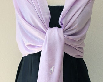 Bridesmaid gifts lavender pashmina shawl, scarf, wrap, monogrammed gifts