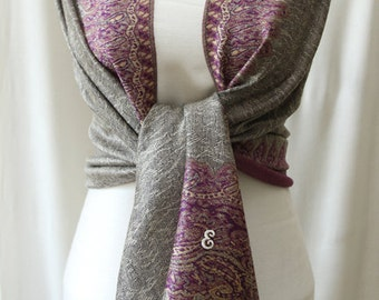 Wedding gift ideas pashmina scarf shawl, silver with purple paisley edge scarf