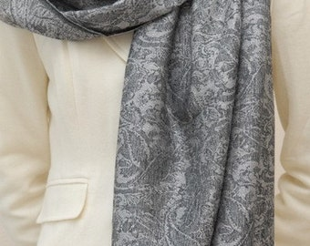 Soft, silver grey and black paisley woven scarf shawl wrap, bridesmaids gifts, weddings gifts, bridal party, christmas gifts