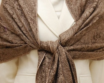 Soft paisley woven brown and champagne shawl, scarf, wrap, bridesmaids gifts, bridal gifts, weddings
