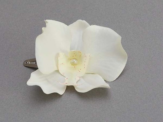 2 Ivory Orchid flower hair clip, bridal, bridesmaid hair clips
