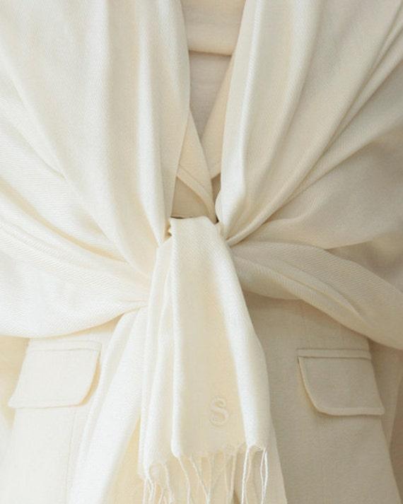 7 ivory shawls with monogram