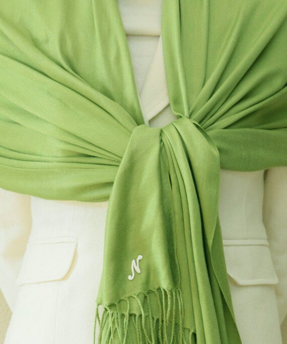 Apple green pashmina scarf, Bridesmaid Shawl, Bridesmaid Gift, bridal accessories, wedding gift