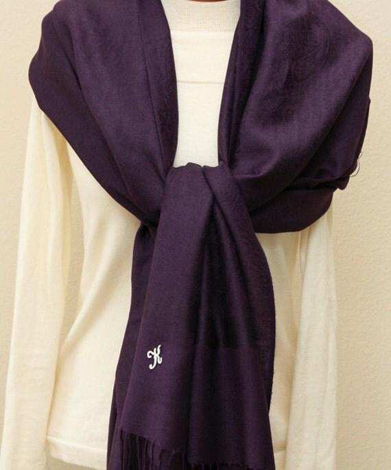 Soft eggplant dark purple paisley pashmina shawl scarf wrap bridal  Dark Purple Pashmina Scarves