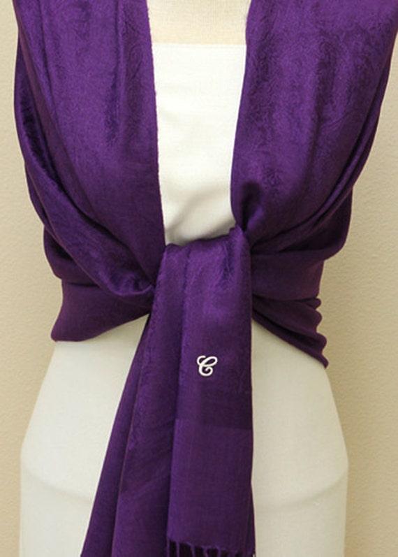 Clearance slightly defect deep purple paisley shawl, scarf, wrap, bridal bridesmaid gifts