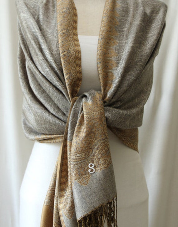 Soft silver and gold paisley edge shawl, scarf, wrap, mother of the bride gifts, monogrammed gifts