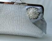 Wedding Clutch - Bridal Clutch- White Clutch Crystal Brooch - Wedding Purse - Giselle