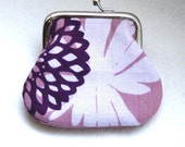 Coin Purse - Change Purse - Purple and Cream Coin Purse