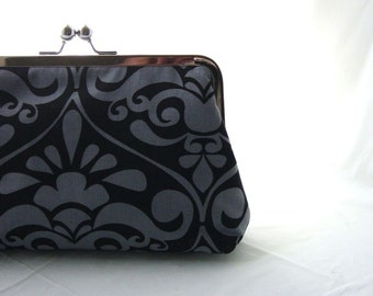 Gray/ Black Damask Clutch Purse  - Steffie