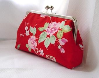 Red Clutch Purse - Japanese inspire - Gigi