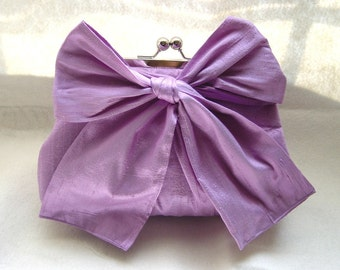 Wedding Clutch - Bridal Purse - Bridesmaids Clutch - Bridesmaids Gifts - Lilac Bow Clutch - Marisa Clutch
