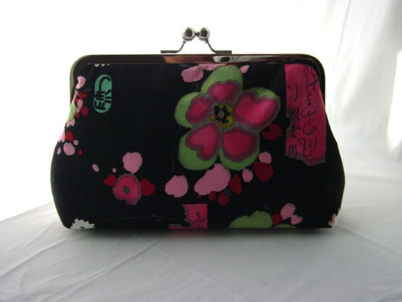 Bridesmaids Clutch - Wedding Clutch - Bridesmaids Gifts - Floral Clutch - Black and Pink Asian Clutch - Jane Clutch