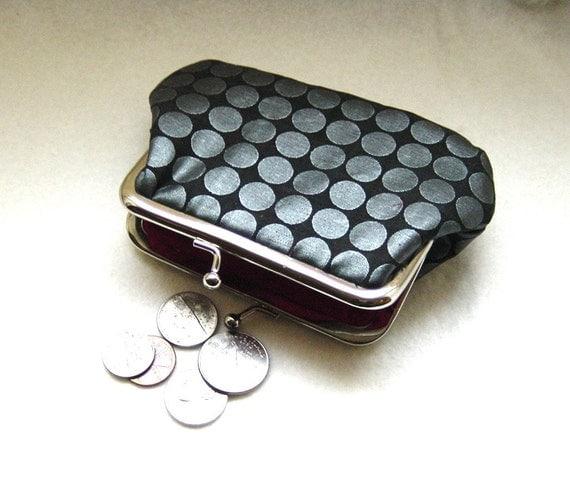 Coin purse grey dots kiss lock change purse