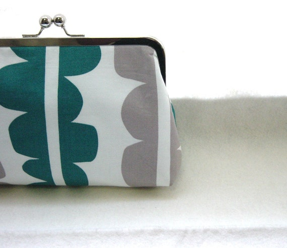 Gray and Teal Bridal Clutch Purse - Lined in Dupioni Silk - Kyra