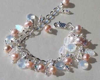 Lavender Freshwater Pearl Charm Bracelet