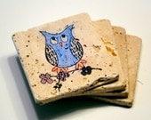 Colorful Owl Coasters - Set of 4