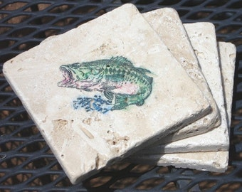 A Jumping Salmon-Set of 4 Coasters (ready to ship)