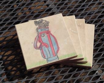 The Blue Golf Bag - Set of 4 Coasters