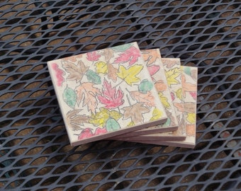 Fall Leaves - Set of 4 Coasters (ready to ship)