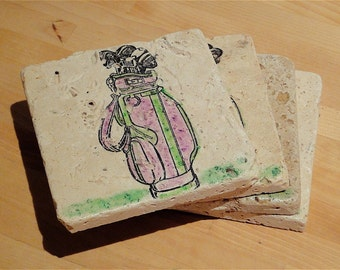 Green and Purple Golf Bag Coasters --Set of 4 (ready to ship)