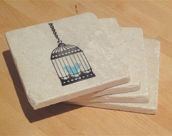 Blue Singing Bird Coasters -- Set of 4
