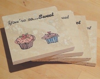 Two Sweet Cupcakes -- Set of 4 Coasters (ready to ship)